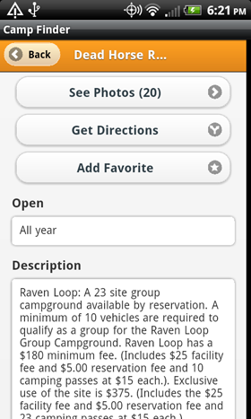 Camp Finder App - Dead Horse Ranch State Park Campground description