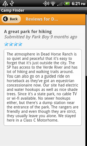 Camp Finder App - Dead Horse Ranch State Park Campground reviews