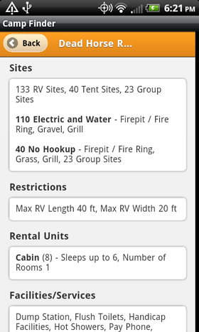 Camp Finder App - Dead Horse Ranch State Park Campground site details