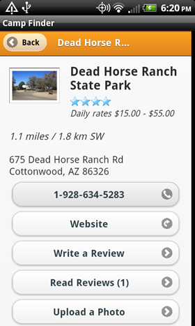 Camp Finder App - Dead Horse Ranch State Park Campground details