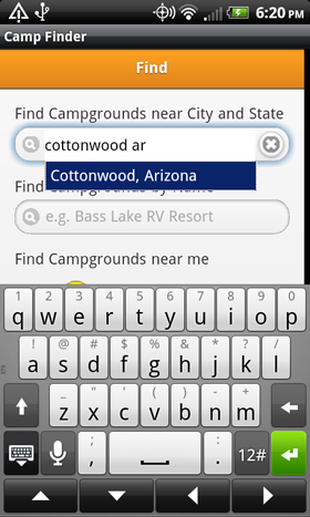 Camp Finder App - Campground city search with autocomplete