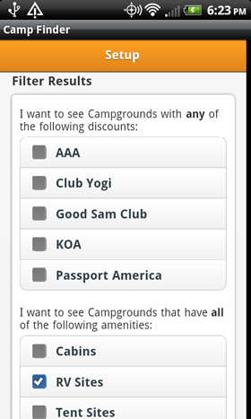 Camp Finder App - Setup - Filter Discount Clubs