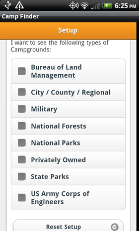Camp Finder App - Setup - Filter by Park Type