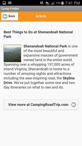 Camp Finder Android App - Article on Best Things to Do at Shenandoah National Park