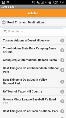 Camp Finder Android App - List of RV and camping articles