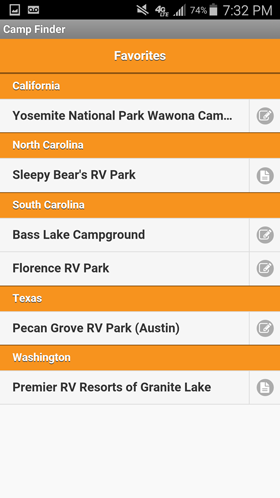 Camp Finder Android App - List of Favorite Campgrounds, RV Parks and RV Resorts