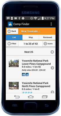 Camp Finder on Droid
