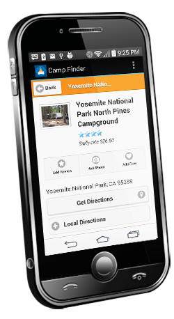 Android phone showing camground search results on Camp Finder app