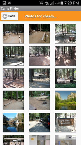 Camp Finder Android App - Yosemite National Park North Pines Campground Photo Gallery