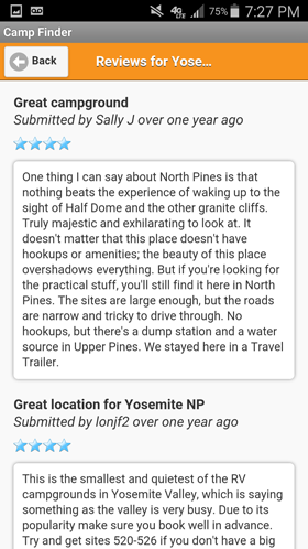 Camp Finder Android App - Yosemite National Park North Pines Campground reviews