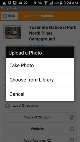 Camp Finder Android App - Upload a Photo view