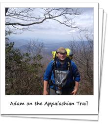 Adam Nutting hiking on the Appalachian Trail