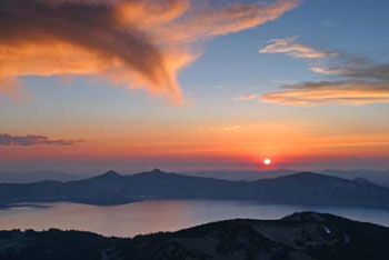 Orange Sunset over Crater Lake seen from Mount Scott