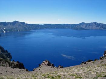 View of Crater Lake and Wizard Island from Cloudcap Overlook