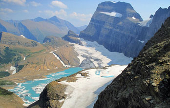 Grinnell Glacier, seen from Grinnell Glacier Overlook, Glacier National Park