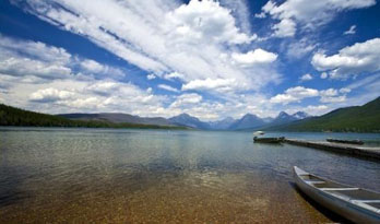 Kayaks floating on Lake McDonald, Glacier National Park
