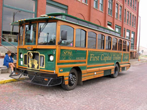 Trolley in front of old State Capital building