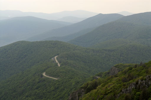 Skyline Drive cutting through Shenandoah National Park