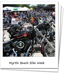 Line of Harley Davidsons at Myrtle Beach Bike Week