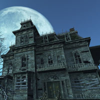 Haunted House lit by a full moon