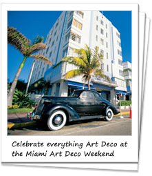 Art Deco car parked outside an Art Deco building in Miami