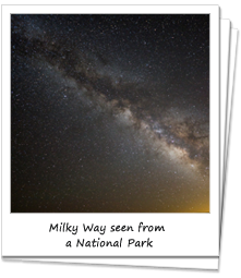 Milky Way in the night sky at a National Park