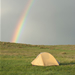 Rainbow over a tent