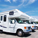 Line of parked class C motorhomes