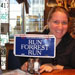 Melissa Williams with Run Forrest Run Sign