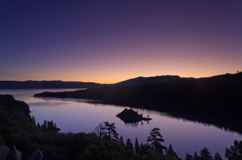 Emerald Bay at dawn in South Lake Tahoe
