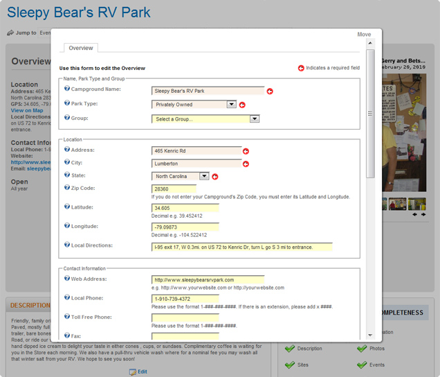 Add or update your campground details whenever you want with our easy to use forms