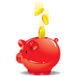 Money being dropped into red piggy bank