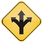 Yellow road sign with black arrows pointing in 3 directions