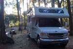 La Casita Bella, Bernie and Mar's RV, an all white Class C motorhome