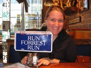 Melissa Williams with a Run Forrest Run sign
