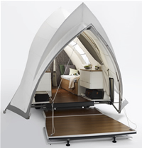 Internal view of pop up camper shaped like Sydney Opera House