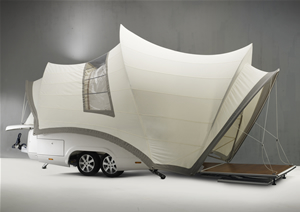 Side view of pop up camper shaped like Sydney Opera House