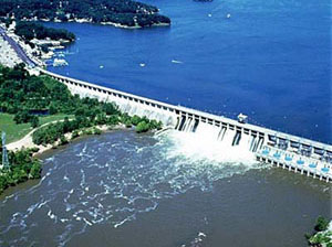 Aerial painting of Bagnell Dam
