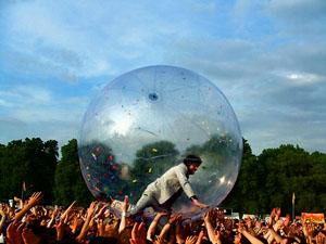 The Flaming Lips crowd surfing in a ball at Nateva Festival