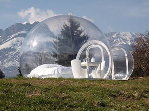 The BubbleTree tent pitched in the mountains