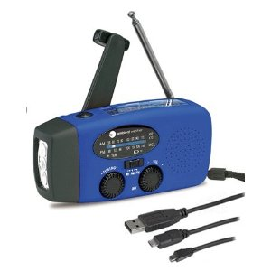 A blue device with a flashlight, radio, antenna, knobs, and black outlet cables sits in front of a white background