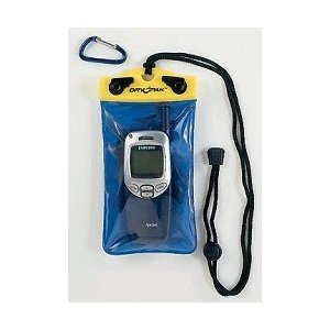 A blue cell phone case with a yellow top has an attached lanyard and separate clip and contains a cell phone