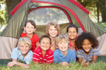 Group of children having fun in a tent