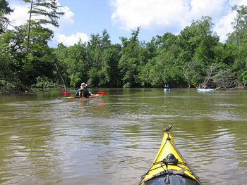 Friends kayaking  on the Sabine River