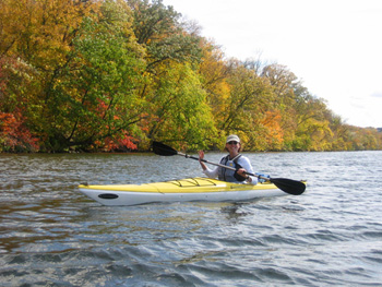 Woman kayaking on the Saint Croix River