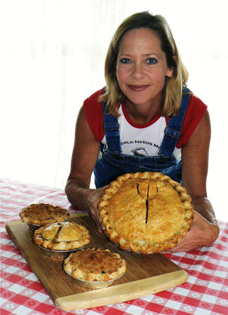 Beth Howard holds a pie