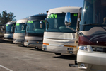 Row of new RVs at dealership