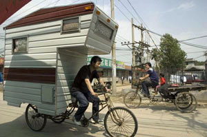 Camper bike on the road