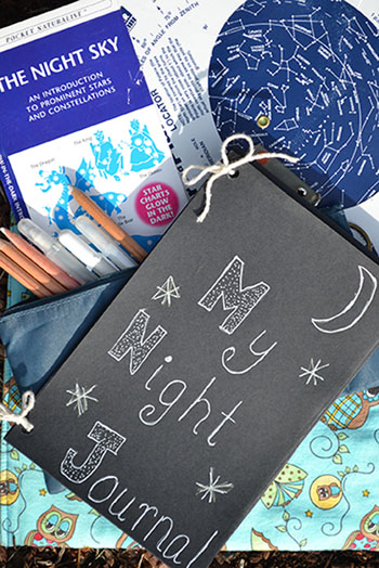 Kids night sky journal with a night sky guide