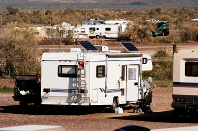 An RV with solar panels